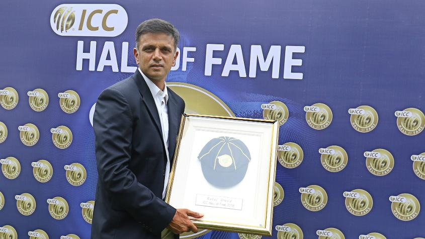 Rahul Dravid formally inducted into the ICC Hall of Fame.