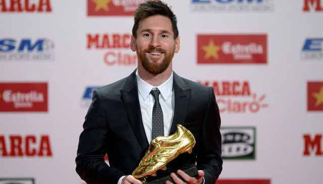 Barcelona forward, Lionel Messi wins record 5th Golden Shoe award!