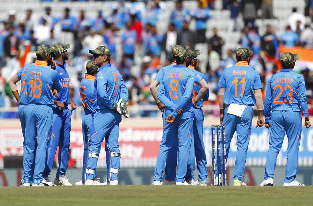 India wear camouflaged caps at Ranchi ODI in tribute to Armed Forces.
