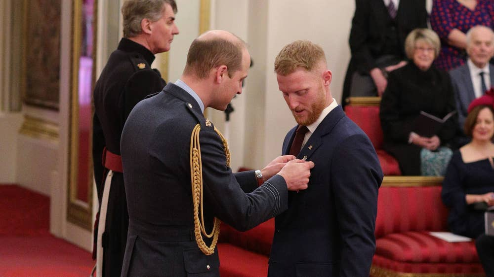 Stokes honoured at Buckingham Palace for services to Cricket.